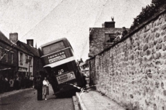002625 Bus that has mounted the double pavement in West Street c1950
