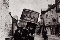 002626 Bus that has mounted the double pavement in West Street c1950