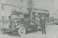 003163 Hugo Harvey's hardware van with driver Charles Ottery at Rapps, Ashill c1938