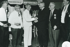 002805 Prize presentation at Ilminster Bowling Club by brewery rep. Frank Maddocks c1980