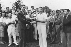 002658 Don Coombes, Captain of Broadway Cricket Club, receiving the Ilminster Knock Out Cup from F S Carpenter, Chairman of Ilminster Urban District Council 1949