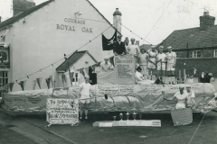 000238  'Yellow Submarine' carnival float and crew outside the Royal Oak, Ilminster 1966