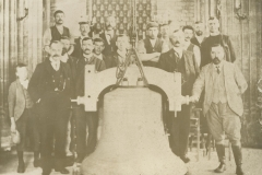 000310 Group including  Colonel J R Paul and Alexander Pool with new church bell prior to raising into tower 1902