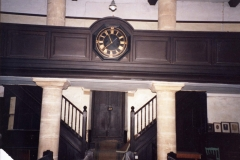002509 Unitarian Chapel showing the gallery clock, stairs and door to the school room 1992