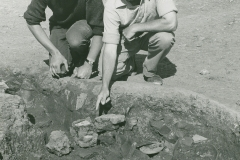 000820 Pottery remains on a kiln during excavations at Pottery Farm 1972