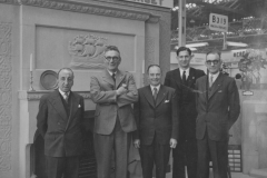 000798 Hector Hutchings (Managing Director), Harold Goodman (Traveller South West), Phil Thurman (Traveller London and Midlands), Hubert Cave (Showroom Assistant), Jack Addis (Traveller North) on Minster Fireplaces stand at British Industries Fair, Birmingham c1956
