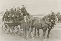 000262 Firemen on horse drawn fire engine, Ilminster 1896
