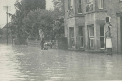 000510 Flooding showing Ditton Lea and Patten's petrol pump in Ditton Street, Ilminster 1947
