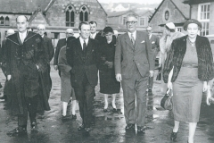 000700 Lord Harding, Headmaster R T Graham and Chairman of Governors Hector Hutchings at Speech Day, Ilminster Grammar School 1958
