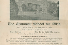 000712 School prospectus, Ilminster Girls Grammar School 1895