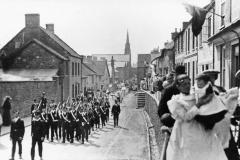 000454 Boys Brigade leading the Whitsun parade along High Street, Ilminster 1906