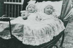 000680 Twin babies in a pram c1900