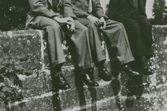 002161 Jim Novell, Roy Hallett and John Potts sitting on Hort Bridge c1950