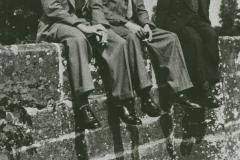 002161 Jim Novell, Roy Hallett and John Potts sitting on Hort Bridge c1950