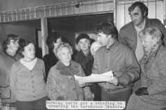 000905 Warehouse Theatre working party which includes Lorna Tice, Malcolm Young, Terry Loveless, Mary Langford c1980