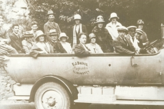 000260 Ilminster church choir in charabanc owned by F J Davis of Ilminster c1920