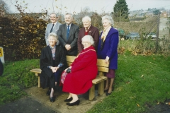 003343 Dedication of Unitarian Seat in Wharf Lane, Ilminster, back row, Dr Alan Williams, Frank Clabburn, Graham Meyrick, Jill Jones, front row, Eleanor Dixon and Mary Hodges 1994