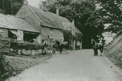 002698 Horses Prince and Captain waiting to be shoed at the Smithy c1907