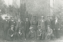 000286 Group possibly connected with conscription, Ilminster featuring R P Weadon, T B Edmonds, Ned Tutcher, Eli Dinham, Howard Wyatt, C Cornelius, Harry Hutchings, Howard Wyatt c1916