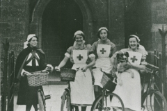 002489 Four nurses outside Red Cross Camp Reception Hospital, Methodist School Rooms, Ilminster featuring Joan Scott, Jose Duke, Beesley and Betty Ball 1940